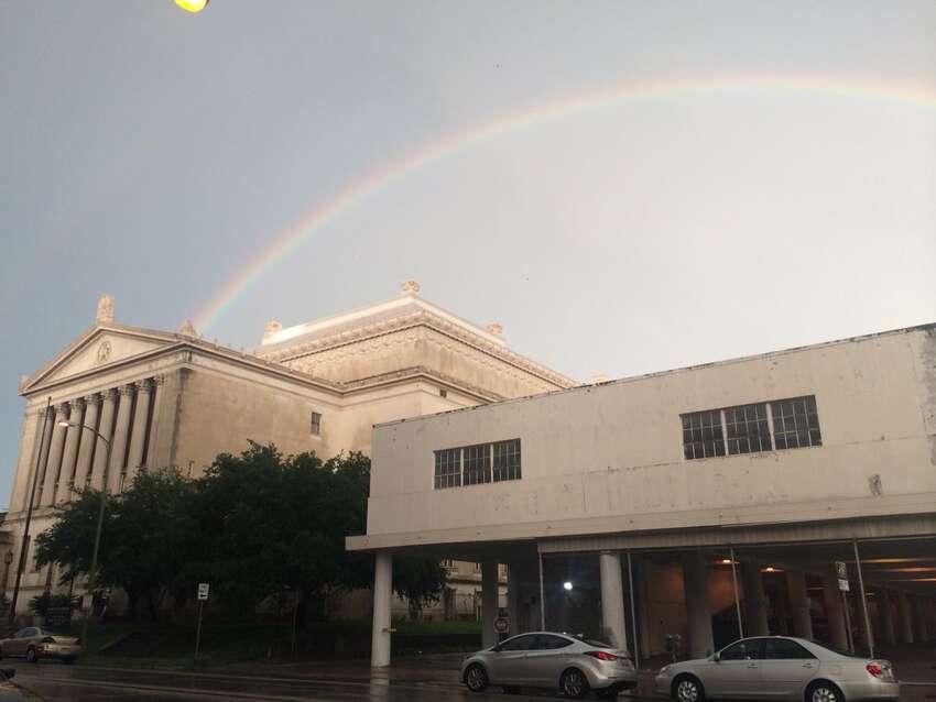Double rainbow appears over downtown San Antonio 8 p.m. Thursday June 2, 2016.