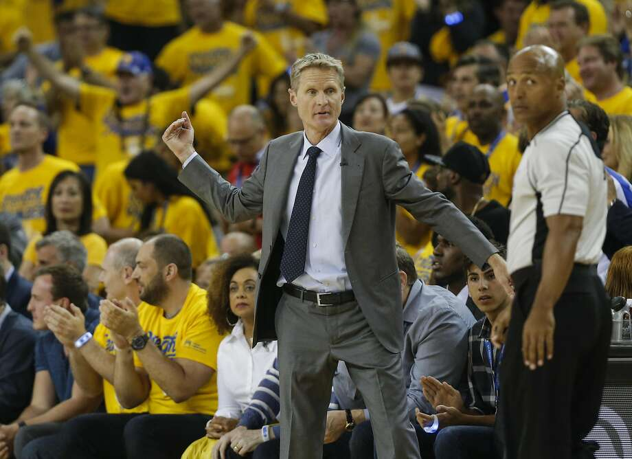 Golden State Warriors' Coach Steve Kerr reacts to a play in the first quarter during Game 1 of the NBA Finals at Oracle Arena on Thursday, June 2, 2016 in Oakland, Calif. Photo: Michael Macor, The Chronicle