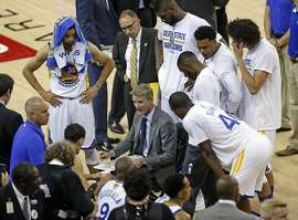 Golden State Warriors' head coach Steve Kerr during a time out against Cleveland Cavaliers in 2nd quarter of Game 1 of NBA Finals at Oracle Arena in Oakland, Calif., on Thursday, June 2, 2016.