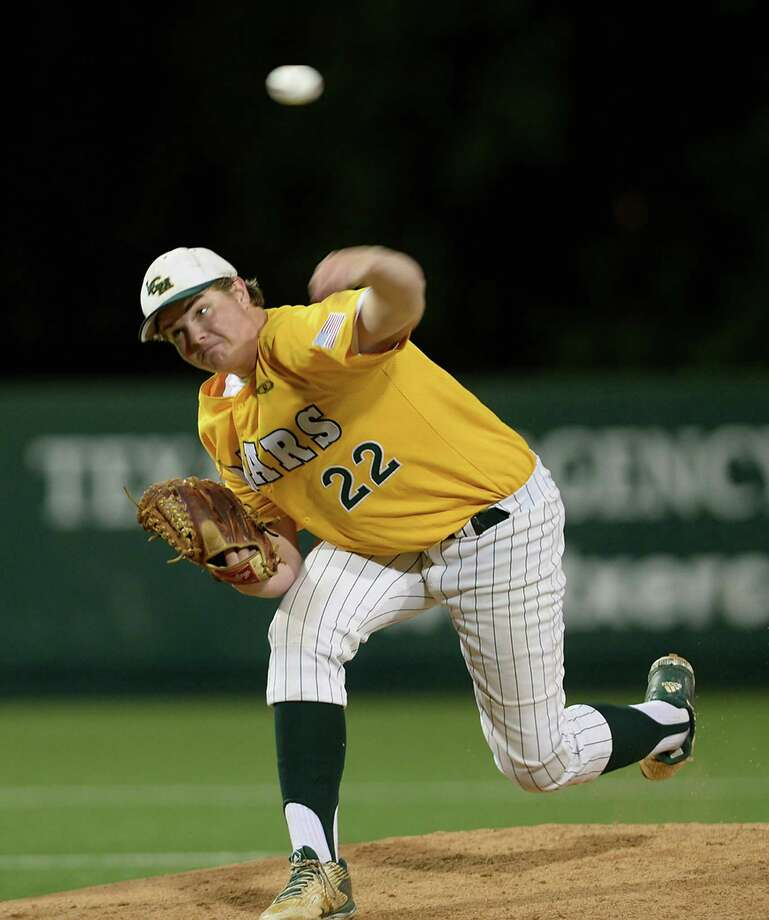 Little Cypress-Mauriceville's Slade Green fires off a pitch against Robinson during game one of the Class 4A region III tournament Thursday at the University of Houston baseball stadium.  Photo taken Monday, June 2, 2016 Kim Brent/The Enterprise Photo: Kim Brent / Beaumont Enterprise