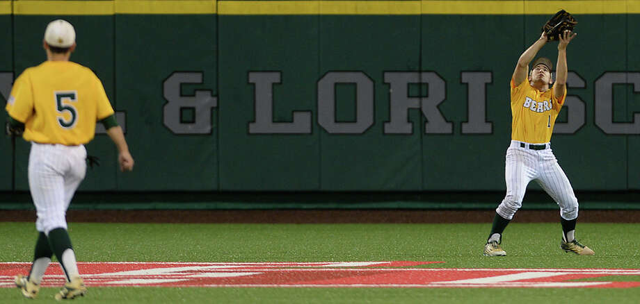 Little Cypress-Mauriceville's Truman Franklin makes the out on the Robinson pop-up during game one of the Class 4A region III tournament Thursday at the University of Houston baseball stadium.  Photo taken Monday, June 2, 2016 Kim Brent/The Enterprise Photo: Kim Brent / Beaumont Enterprise