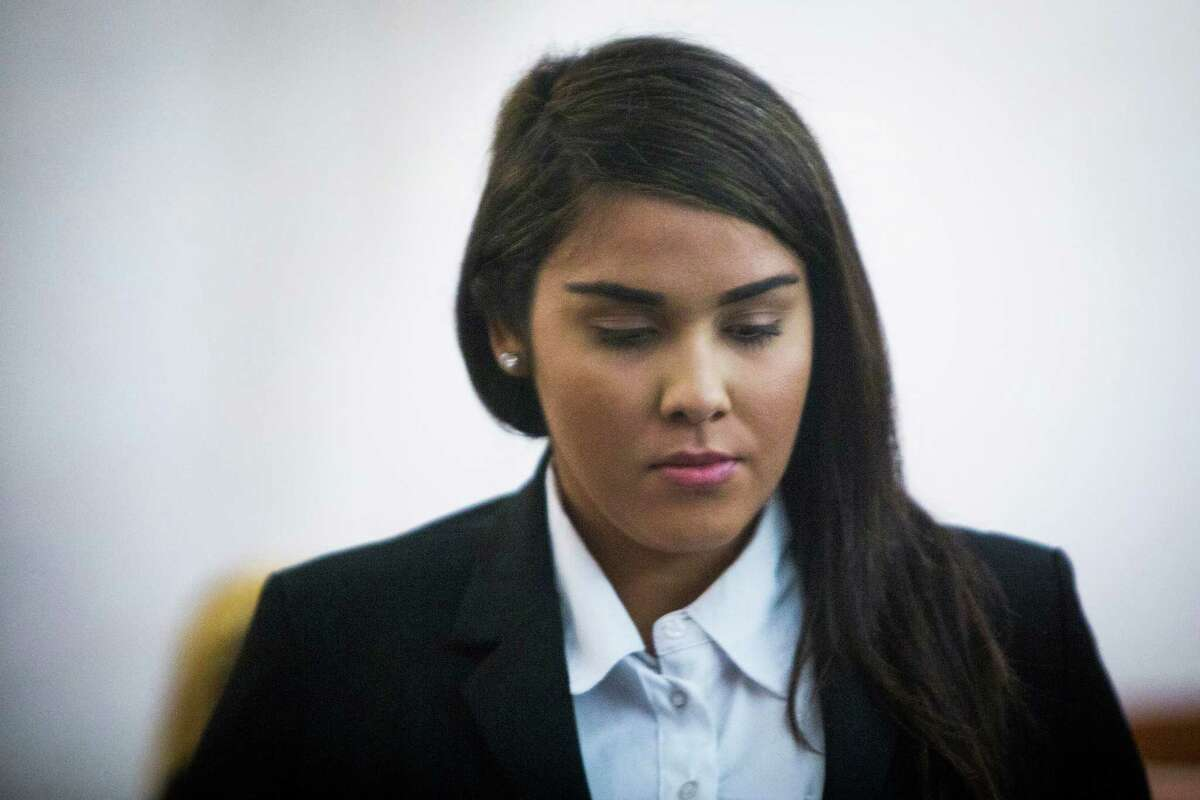 Alexandria Vera, 24, the Aldine School District middle school teacher accused of having a long-term sexual relationship with an underage student appears in the Harris County's 209th State District Court. Friday, June 3, 2016, in Houston.