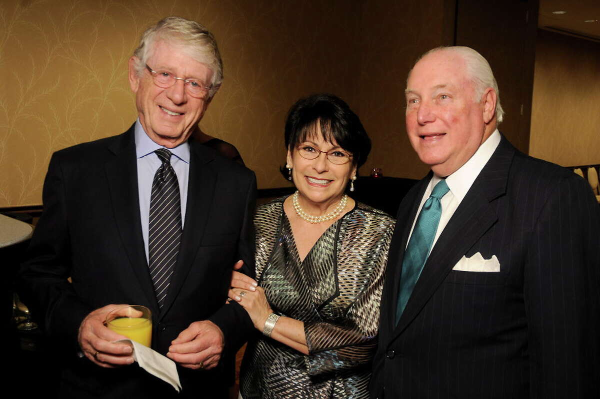 From left: Ted Koppel with co-chairs Rosalyn and Barry Margolis at the Holocaust Museum's annual LBJ Moral Courage Awards dinner at the Hilton Americas Hotel Thursday June 2,2016(Dave Rossman Photo)