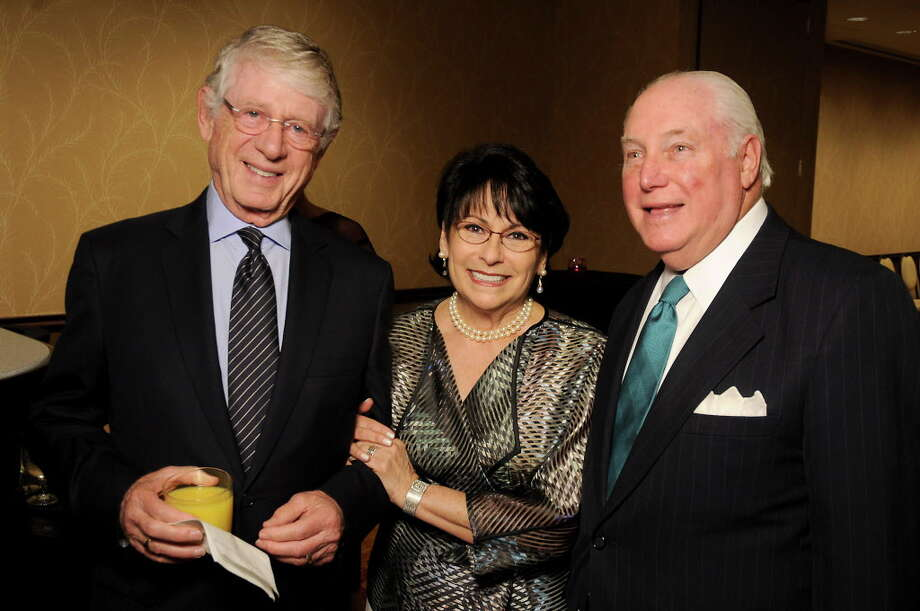 From left: Ted Koppel with co-chairs Rosalyn and Barry Margolis at the Holocaust Museum's annual LBJ Moral Courage Awards dinner at the Hilton Americas Hotel Thursday June 2,2016(Dave Rossman Photo) Photo: Dave Rossman, For The Chronicle / Dave Rossman