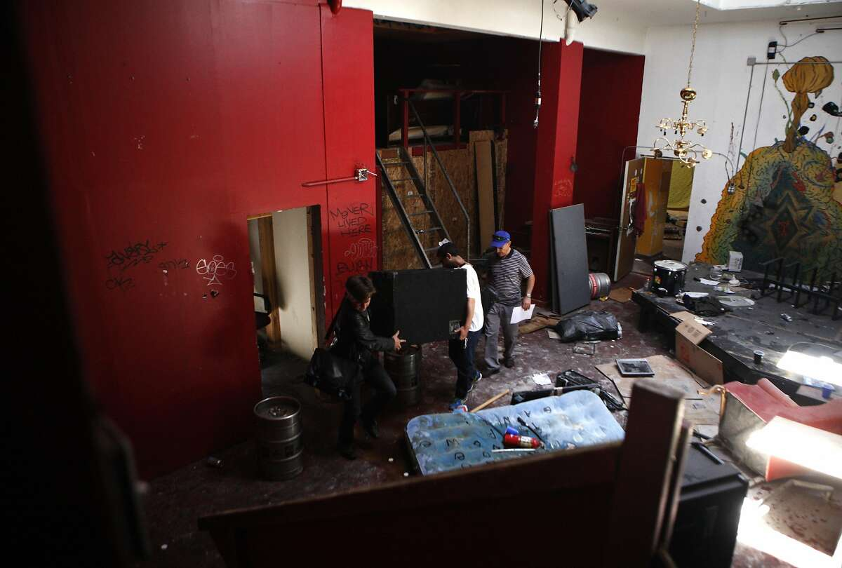 The scene of a eviction of a gallery on Wednesday, June 1, 2016 in Oakland, California. The property was damaged, graffitied, and the tenants also created rooms but cutting through walls to do so.