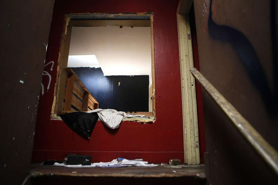 Ghost Town Gallery, in a part of West Oakland once known as a bohemian frontier, was a chaotic scene with sticky floors strewn with trash as tenants were evicted Wednesday after a lawsuit by the landlord. Photo: Michael Noble Jr., The Chronicle