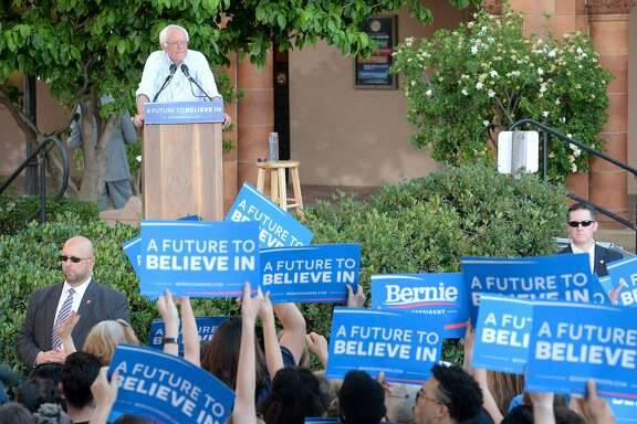 Democratic presidential candidate, Sen.Bernie Sanders, I-Vt., speaks to a large crowd gathered on the California State University Chico campus during a campaign rally stop on Thursday, June 2, 2016, in Chico, Calif. (Bill Husa/The Chico Enterprise-Record via AP) MANDATORY CREDIT