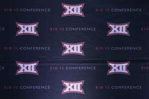 The Big 12 sports conference logo is shown in Irving, Texas, Thursday, June 2, 2016. (AP Photo/LM Otero)