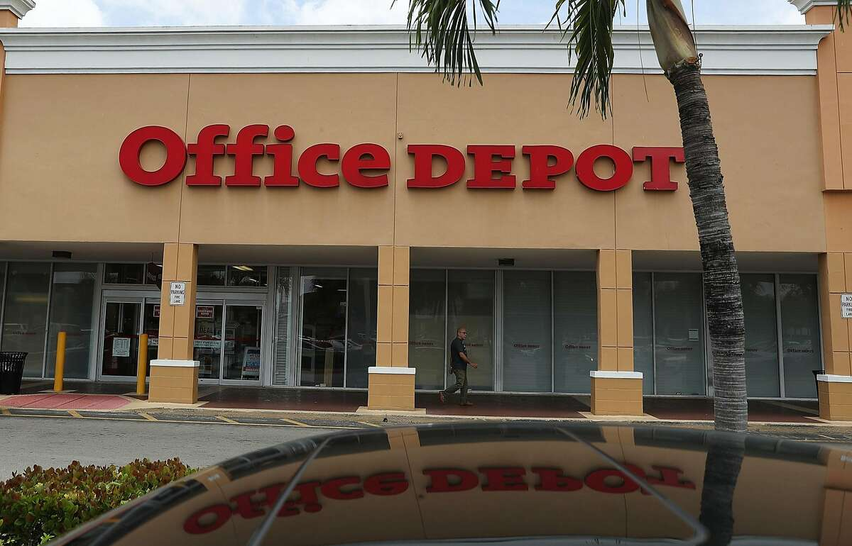 MIAMI, FL - MAY 11: An Office Depot store is seen on May 11, 2016 in Miami, Florida. A federal judge blocked the proposed merger of Staples Inc. and Office Depot Inc. because of antitrust concerns. (Photo by Joe Raedle/Getty Images)