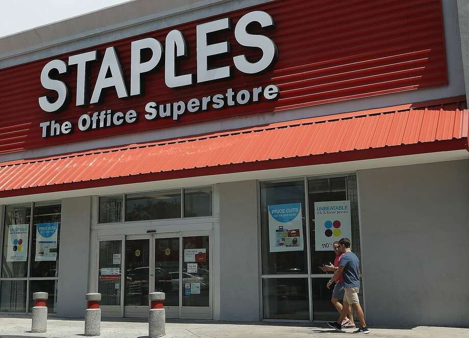 MIAMI, FL - MAY 11:  A Staples store is seen on May 11, 2016 in Miami, Florida. A federal judge blocked the proposed merger of Staples Inc. and Office Depot Inc. because of antitrust concerns.  (Photo by Joe Raedle/Getty Images) Photo: Joe Raedle, Getty Images