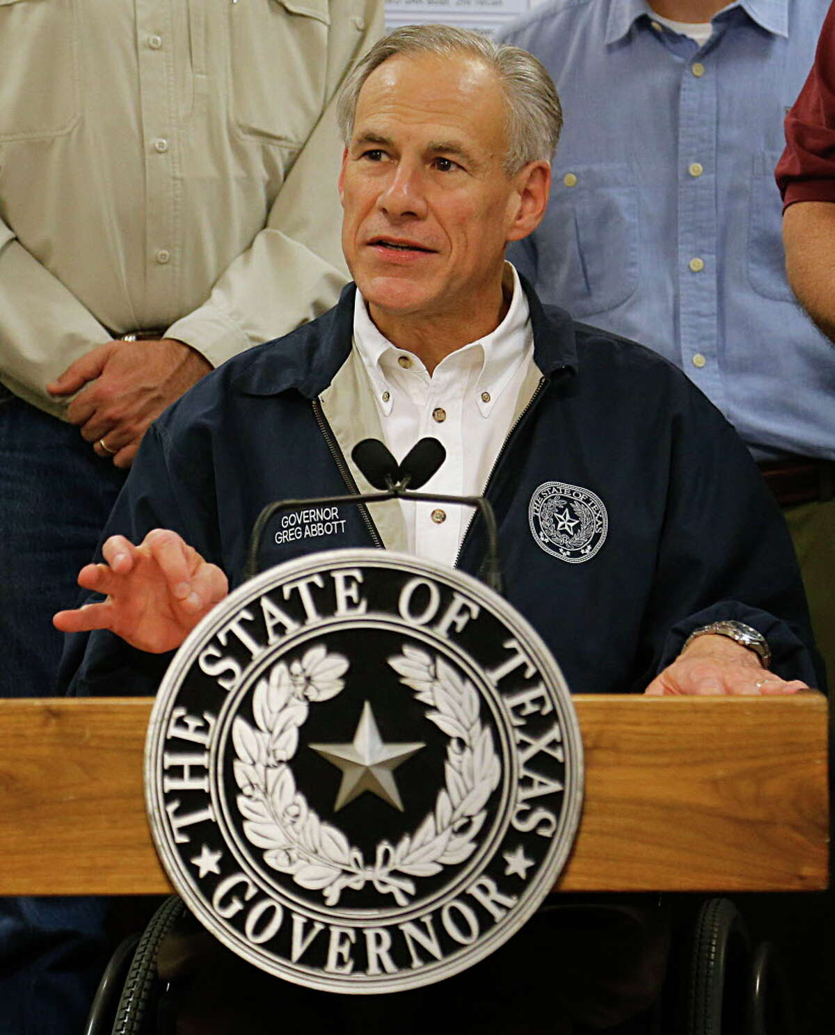 Texas Governor Greg Abbott speaks at a press conference at the Brazoria County Court at Law after taking an aerial tour of Brazoria and Fort Bend Counties Friday, June 3, 2016, in Angleton.