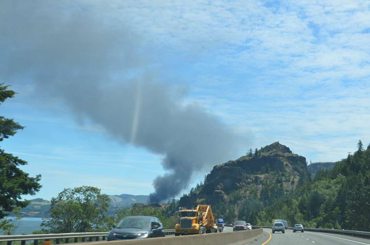 A fire burning in the Columbia River Gorge after a oil train derailed there Friday, June 3, 2016. Theenvironmentaladvocacy group Columbia Riverkeeper provided this photo of the blaze near Mosier, Ore.