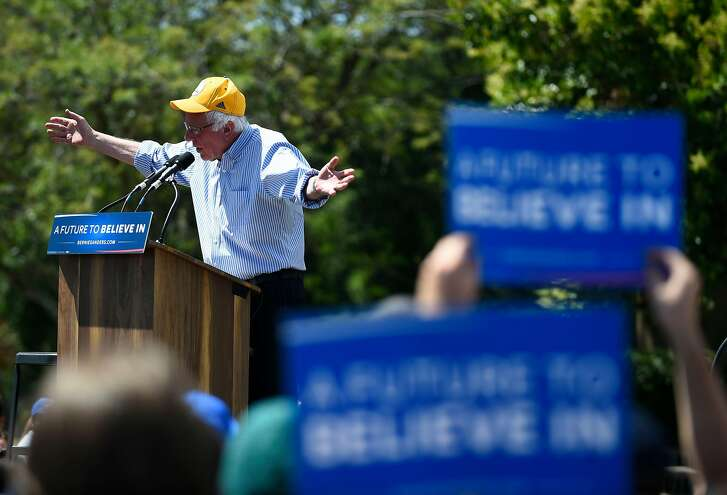 Presidential Candidate Bernie Sanders speaks at a campaign stop at Solano Community College on Friday, June 3, 2016 in Fairfield, California.