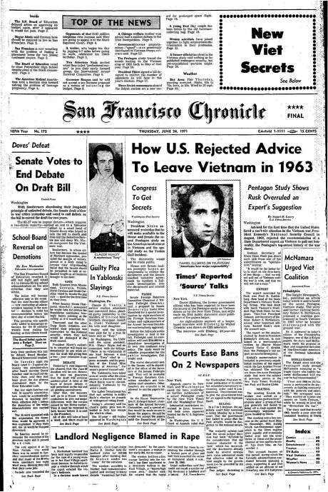 The Chronicle's front page from June 24, 1971, covers the fallout surrounding the Pentagon Papers