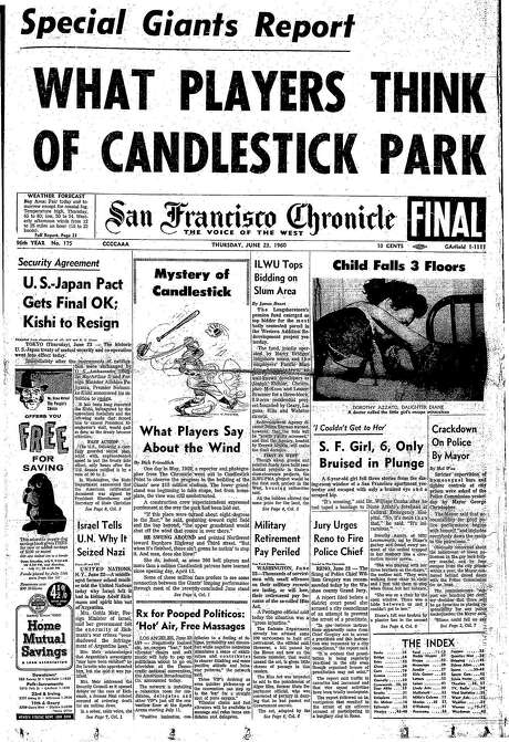 The Chronicle's front page from June 23, 1960, covers an assessment of Candlestick Park by San Francisco Giants players.