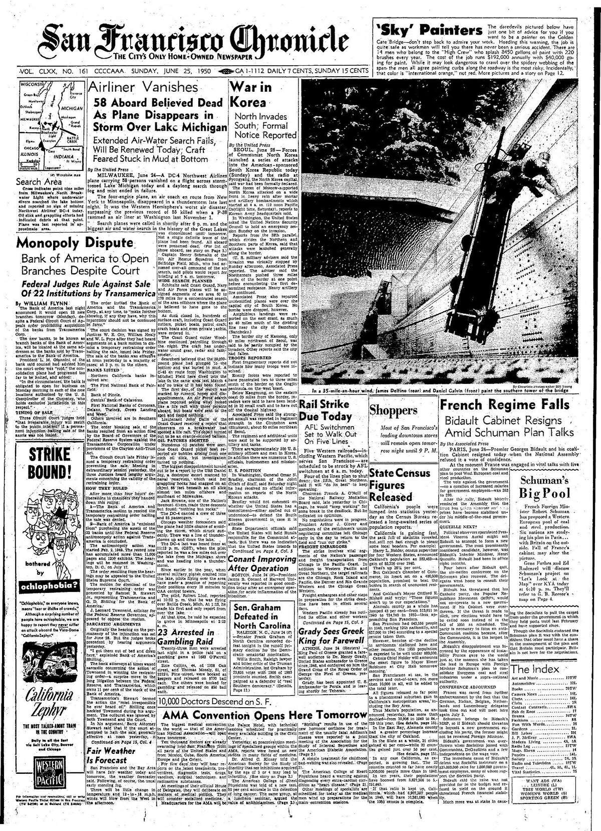 Historic Chronicle Front Page June 25, 1950 front page Painters high atop the Golden Gate Bridge Chron365, Chroncover