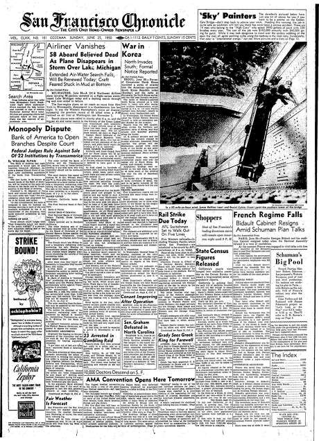 """The Chronicle's front page from June 25, 1950, covers the """"Sky Painters"""" on the Golden Gate Bridge."""