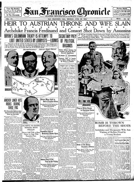 The Chronicle's front page from June 29, 1914, covers the assassination of Archduke Francis Ferdinand.