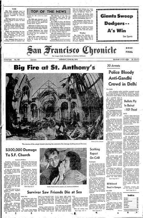 The Chronicle's front page from June 30, 1975, covers the fire that destroyed St. Anthony's Church in San Francisco.