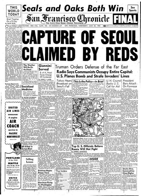 The Chronicle's front page from June 28, 1950, covers the capture of Seoul during the Korean War.