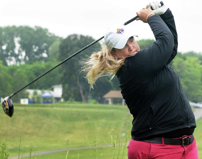 UAlbany golf coach Colleen Cashman-McSween tees off during the first round of the $125,000 Fuccillo Kia Championship, a Symetra Tour event at Capital Hills Friday June 3, 2016 in Albany, NY. (John Carl D'Annibale / Times Union)