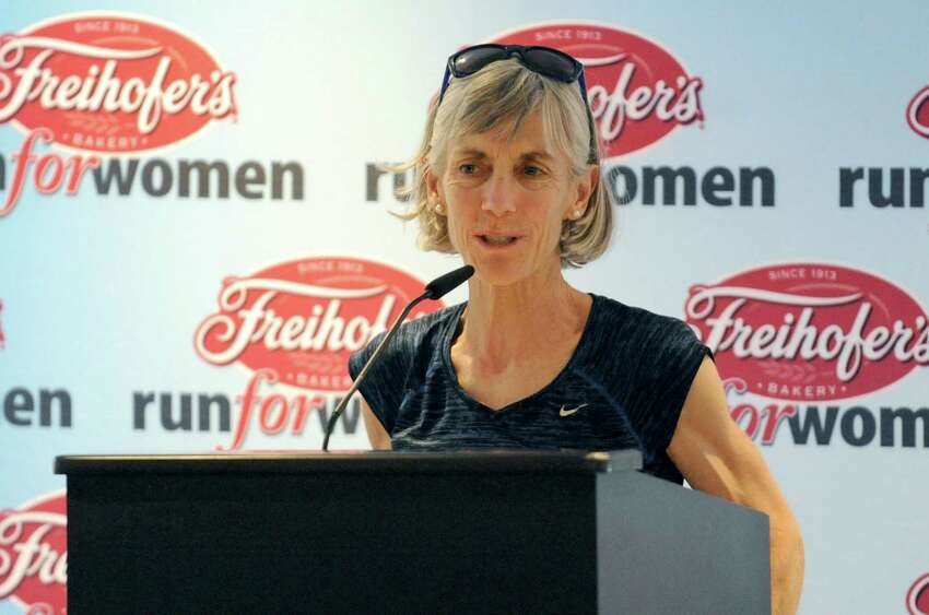 Master runner Joan Benoit Samuelson speaks during the press conference to kick off the 38th Freihofer's Run for Women at the Renaissance Hotel on Friday June 3, 2016 in Albany, N.Y. (Michael P. Farrell/Times Union)