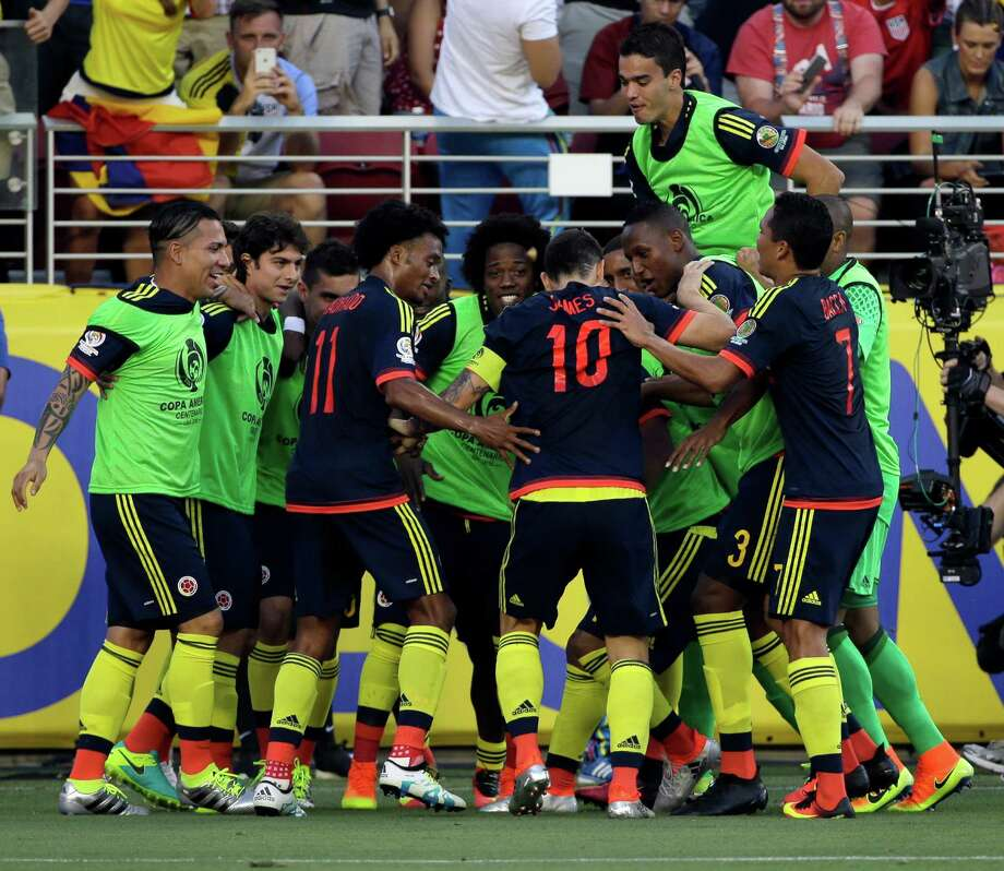 Colombia's James Rodriguez, center, celebrates with teammates after scoring a penalty kick against the U.S. during the opening match of the Copa America Centenario at Levi's Stadium in Santa Clara, Calif., Friday, June 3, 2016. Photo: Jeff Chiu, AP / Copyright 2016 The Associated Press. All rights reserved. This material may not be published, broadcast, rewritten or redistribu