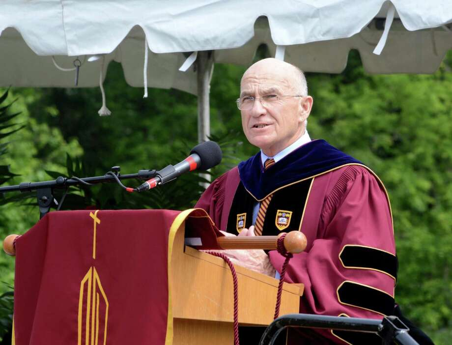School president, William J. Fitzgerald, speaks to those in attendance at the Commencement ceremony. St. Josephs High School in Trumbull, Conn. Graduation ceremony took place at their campus on Sat. June 4, 2016. Photo: Lisa Weir, For Hearst Connecticut Media / The News-Times Freelance