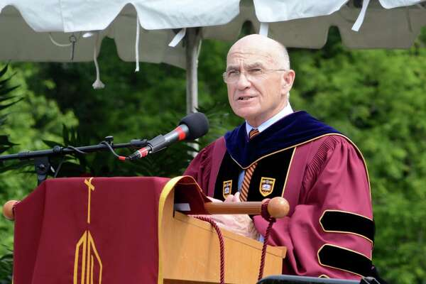 School president, William J. Fitzgerald, speaks to those in attendance at the Commencement ceremony. St. Josephs High School in Trumbull, Conn. Graduation ceremony took place at their campus on Sat. June 4, 2016.