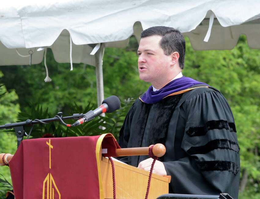 First Selectman of the Town of Trumbull, Timothy Herbst, speaks to those in attendance at the Commencement ceremony. St. Josephs High School in Trumbull, Conn. Graduation ceremony took place at their campus on Sat. June 4, 2016.