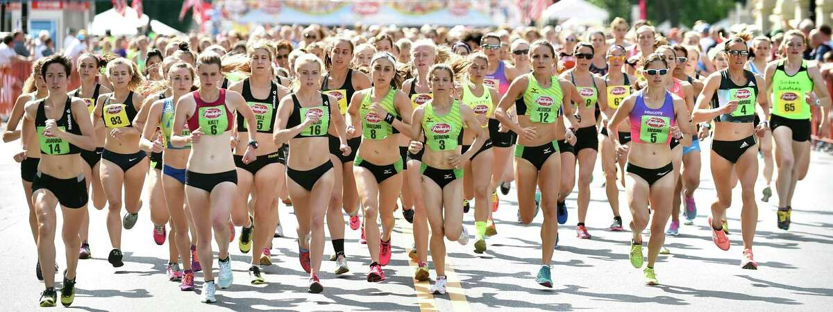 Elite runners lead the field up Washington Avenue during Freihofer's 38th Run for Women on Saturday, June 4, 2016, in Albany, N.Y. (Cindy Schultz / Times Union)
