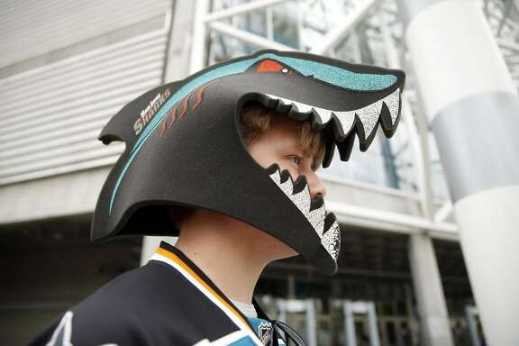San Jose Sharks' fan Gustaf Peterson of Stockholm, Sweden arrives for Game 3 of NHL Stanley Cup Final at SAP Center in San Jose, Calif., on Saturday, June 4, 2016.