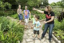 "San Antonio Botanical Garden's family adult and education program specialist, Emma Trester-Wilson, and Aaron Meyer, 5, walk on the grounds of the San Antonio Botanical Gardens to release a Monarch butterfly during the ""Winged Wonders,"" exhibit June 4, 2016."