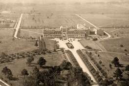 The Administration Building at Rice Institute was built in an empty field outside of Houston's existing city limits. The building is now known as Lovett Hall and still serves as an administrative building.
