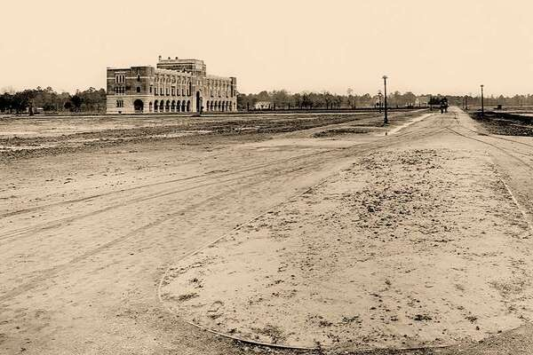 Administration Building at Rice Institute was built in an empty field. The building is now known as Lovett Hall.