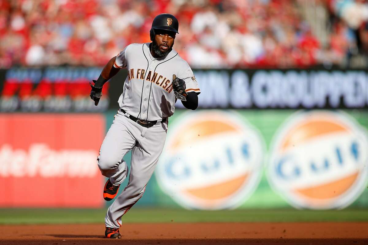 San Francisco Giants' Denard Span heads for home to score a run during the first inning of a baseball game against the St. Louis Cardinals, Saturday, June 4, 2016, in St. Louis. (AP Photo/Scott Kane)