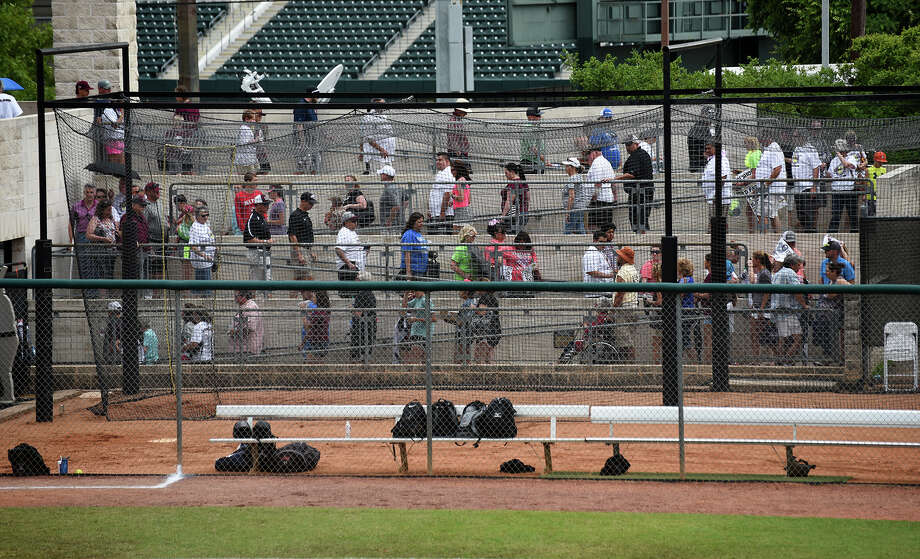 Fans were forced to exit the stands at McCombs Field after a lightning strike caused an interruption of play in the top of the first inning of the Class 6A finals matchup between the Pearland Lady Oilers and the Keller Lady Indians at the 2016 UIL Softball State Championships at McCombs Field in Austin on Saturday, June 4, 2016. (Photo by Jerry Baker/Freelance) Photo: Jerry Baker, For The Houston Chronicle