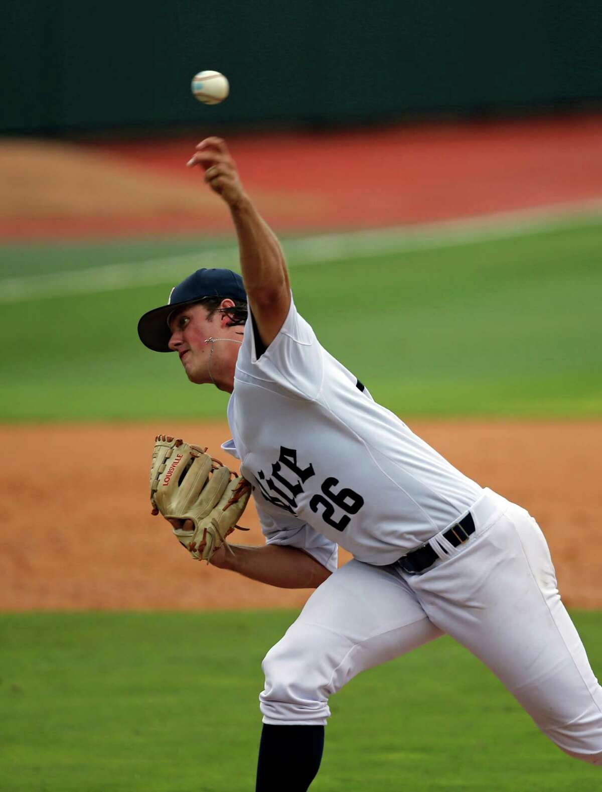 Rice's Blake Fox pitches in the fourth inning of an NCAA college regional baseball game against the Southeastern Louisiana in Baton Rouge, La., Saturday, June 4, 2016. (AP Photo/Gerald Herbert)