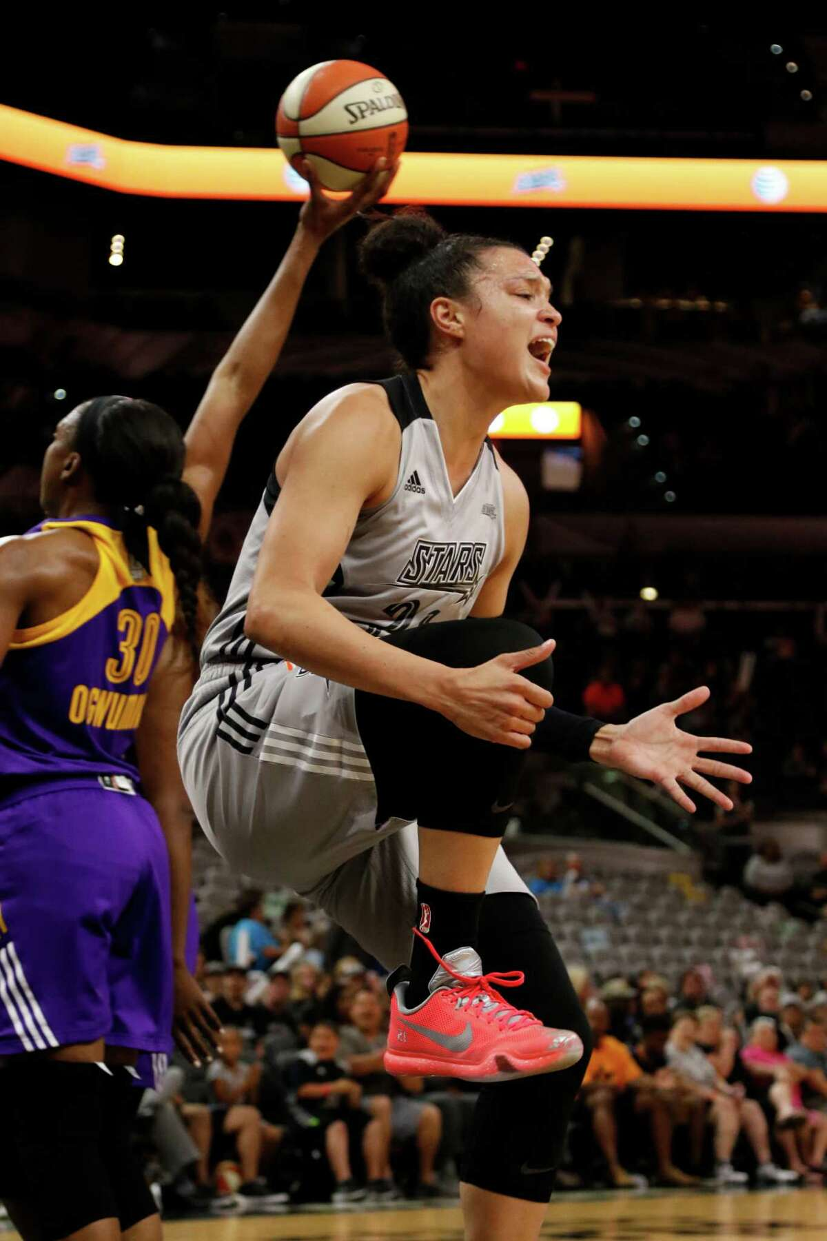 San Antonio Stars?• Kayla McBride reacts after not making a shot against Los Angeles but getting fouled on Saturday, June 4, 2016 at AT&T Center.