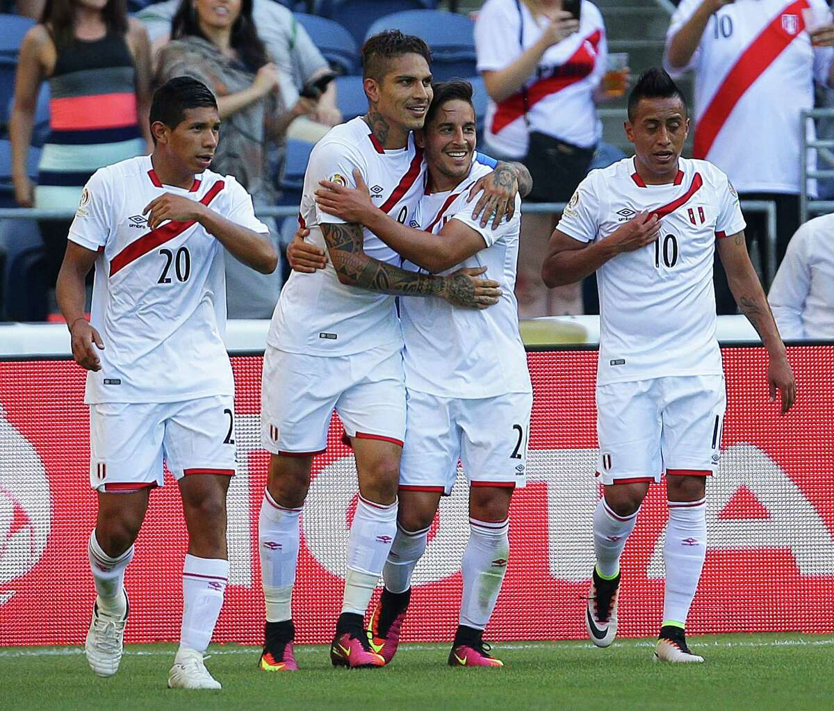 Peru's Paolo Guerrero (9) celebrates with teammates after scoring on Haiti during the second half of the Copa America Centenario game between Haiti and Peru, Saturday, May 4, 2016 at CenturyLink Field. Peru won 1-0.