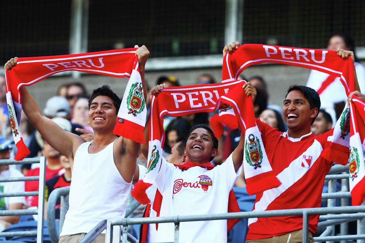 Peru fans cheer during the Copa America Centenario game between Haiti and Peru, Saturday, May 4, 2016 at CenturyLink Field. Peru won 1-0.