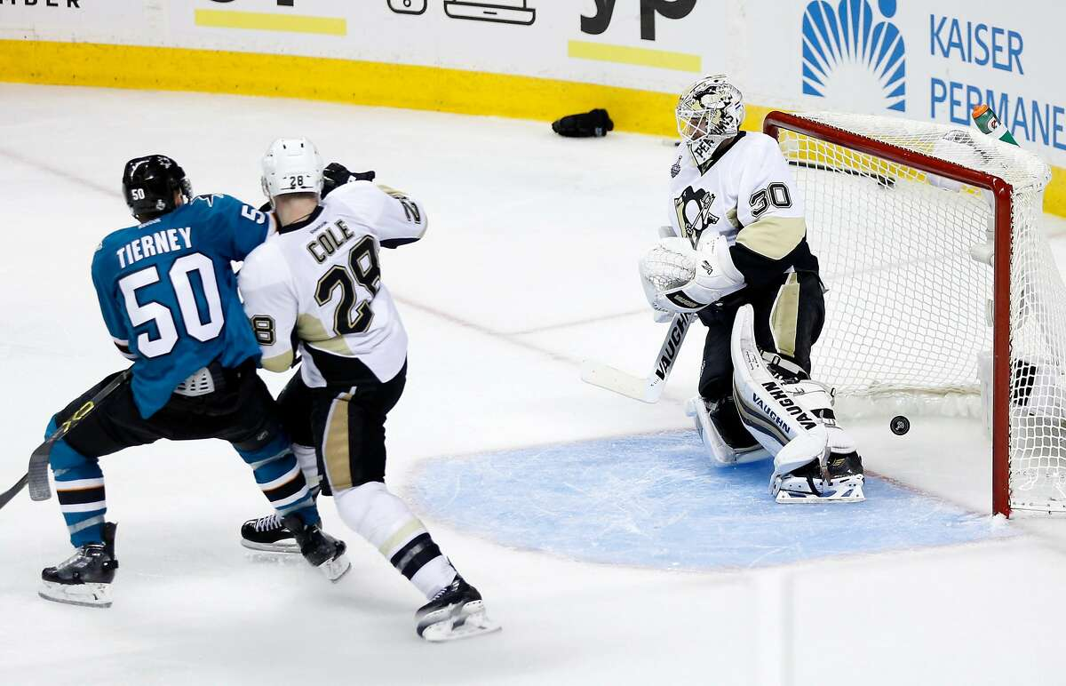 Pittsburgh Penguins' Matthew Murray can't stop goal by San Jose Sharks' Joonas Donskoi in overtime of Sharks' 3-2 win in Game 3 of NHL Stanley Cup Final at SAP Center in San Jose, Calif., on Saturday, June 4, 2016.