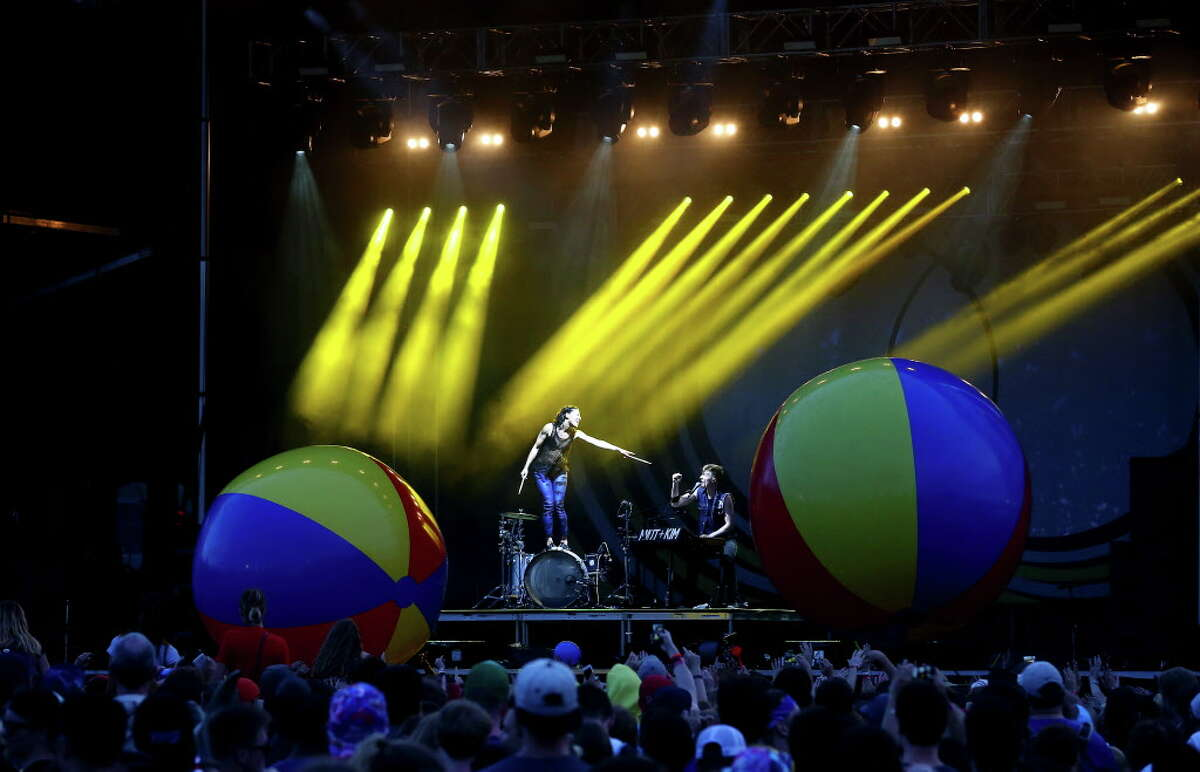 Best use of props: Matt and Kim and inflatables. At different points during the show, this highly caffeinated duo had the audience playing with balloons, gigantic beach balls and fully erect sex dolls.