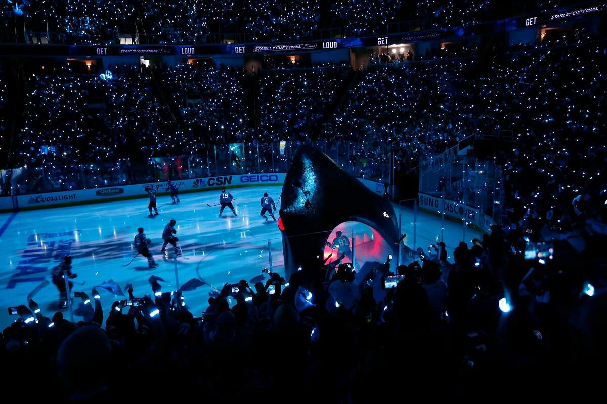 San Jose Sharks' take to the ice before 3-2 overtime win over Pittsburgh Penguins in Game 3 of NHL Stanley Cup Final at SAP Center in San Jose, Calif., on Saturday, June 4, 2016.