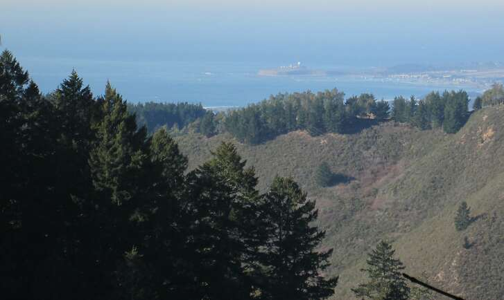 View of Pillar Point Harbor from North Ridge Trail at Purisima Creek Redwoods Open Space Preserve in San Mateo County