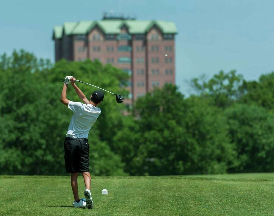 Roncalli Hall, a Sacred Heart University dormitory, can be seen here from Fairchild-Wheeler Golf Course, which borders the university campus in Fairfield, Conn, June 2, 2016. Photo: Mark Conrad / For Hearst Connecticut Media / Connecticut Post Freelance