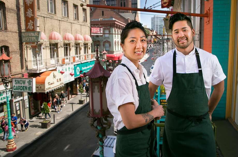Pastry chef Melissa Chou and chef Brandon Jew of Mister Jiu's, at the restaurant, offers a scenic view of Chinatown. Photo: John Storey, Special To The Chronicle