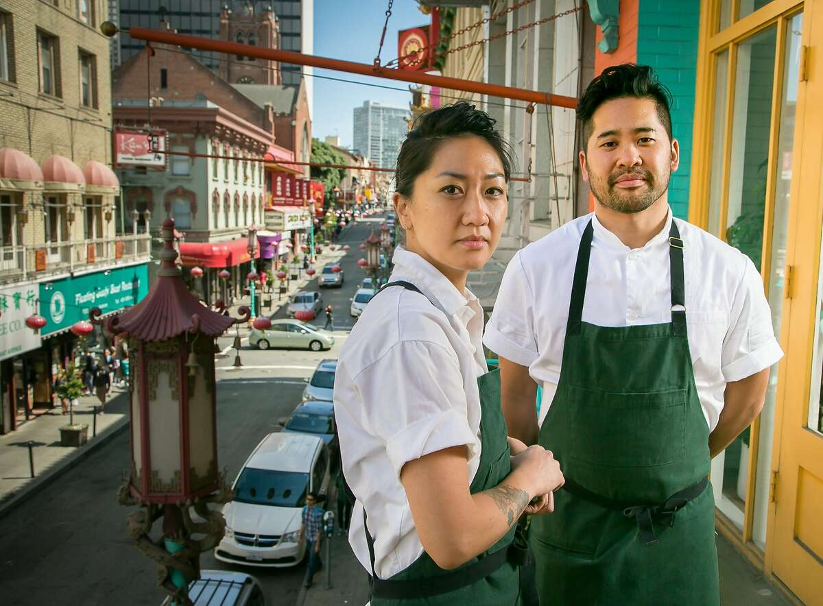Chef Brandon Jew and pastry chef Melissa Chou of Mister Jiu's in San Francisco, California are seen on June 4th, 2016.