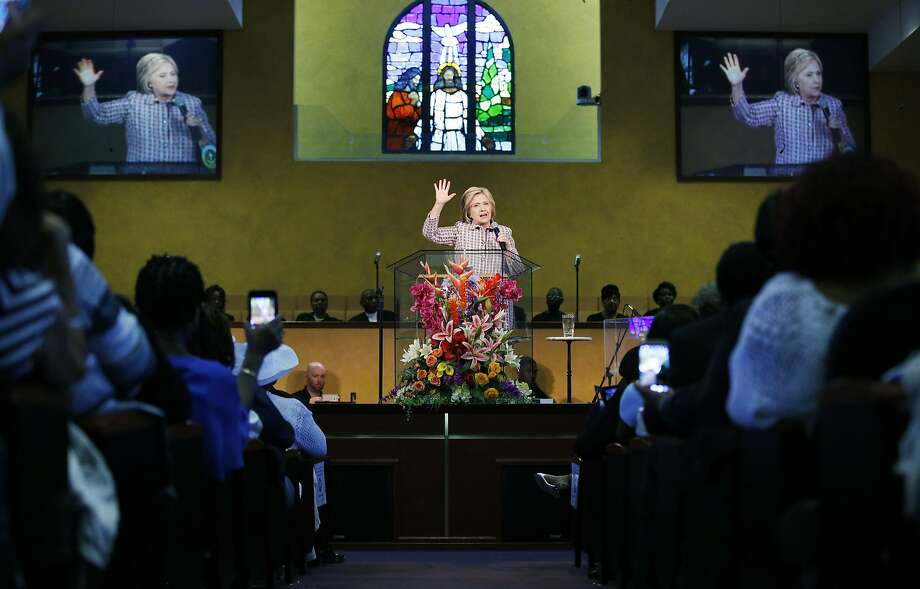 Democratic presidential front-runner Hillary Clinton addresses the congregation at Greater St. Paul Church in Oakland. Photo: John Locher, Associated Press