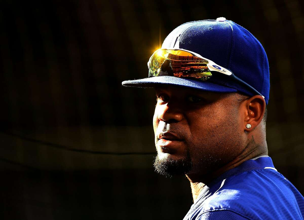 Former Dodgers outfielder Carl Crawford is seen at batting practice before the game against the Los Angeles Angels at Angel Stadium of Anaheim on May 19, 2016 in Anaheim, California.